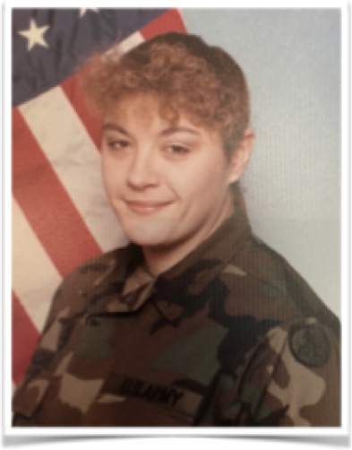 Headshot of Lishamarie Hunter in her military uniform with US flag in background.