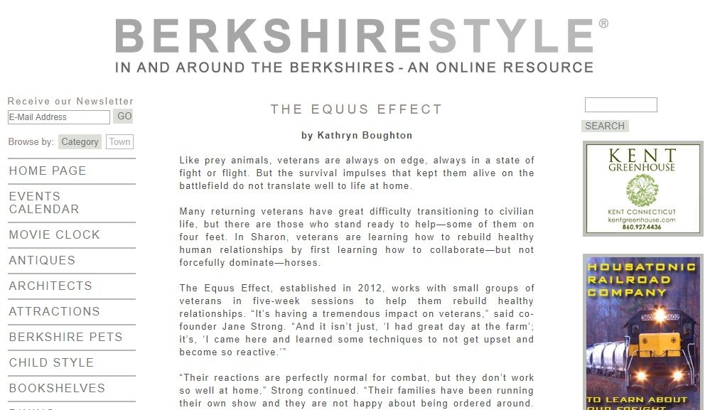 BerkshireStyle Magazine Headline: The Equus Effect